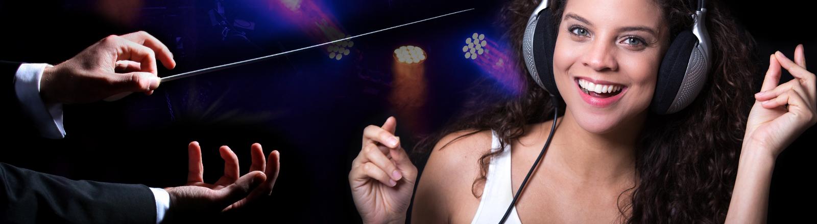 Ein Dirigent und eine Musik hörende Frau.