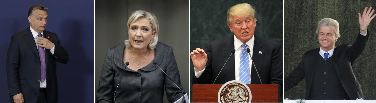 Viktor Orban, Marine Le Pen, Donald Trump, Geert Wilders