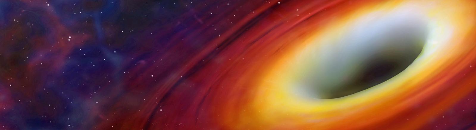 Die grafische Illustration eines Schwarzen Loches.