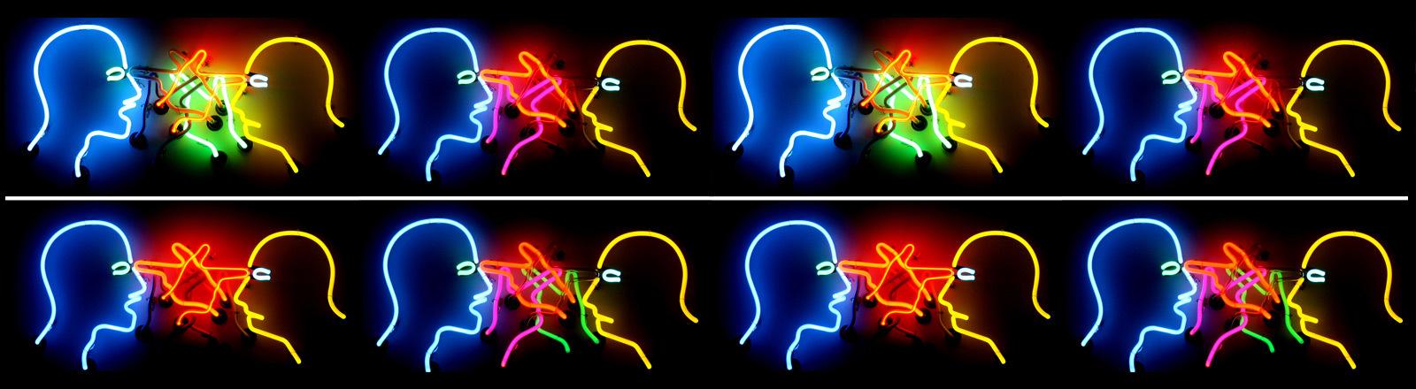 Eine Installation aus Neonröhren.