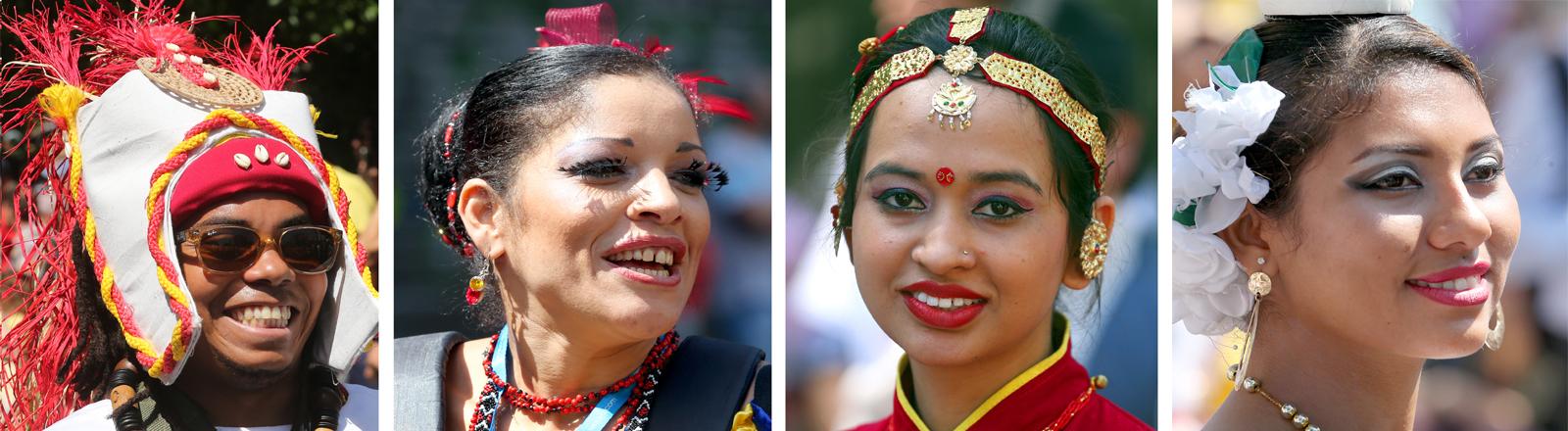 Gesichter des Karnevals - Menschen in bunten Kostümen und farbigen Make-Ups nehmen am 19.05.2013 in Berlin am Festumzug des Karnevals der Kulturen der Welt teil.