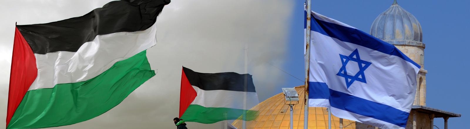 Flaggen Palästina Israel