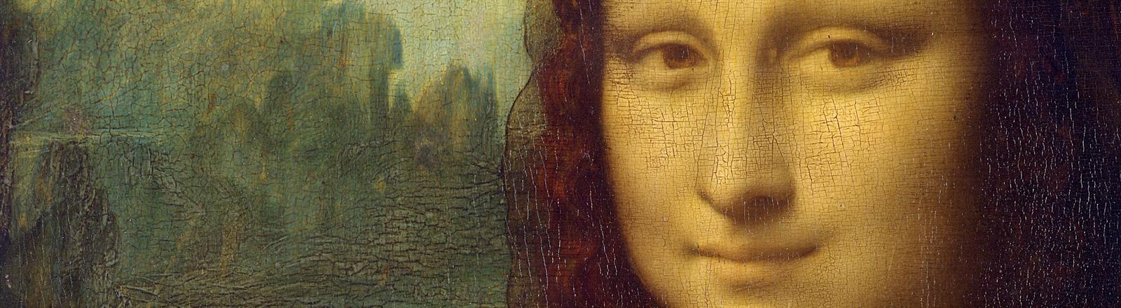 """Ein Ausschnitt des Bildes """"Mona Lisa"""" von Leonardo da Vinci."""