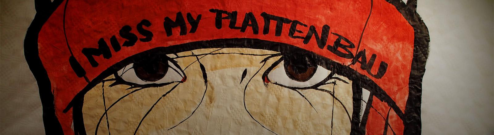 """Streetart mit dem Text """"I miss my Plattenbau"""""""