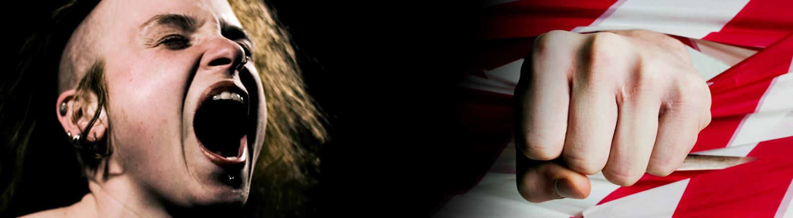 Collage: Schreiende Frau und Hand durchs Absperrband