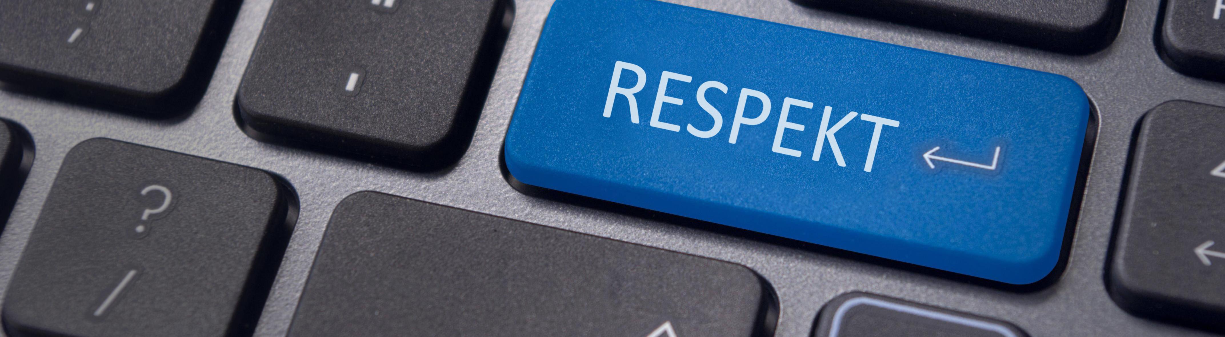 Ein Respekt-Button auf einer Computer-Tastatur