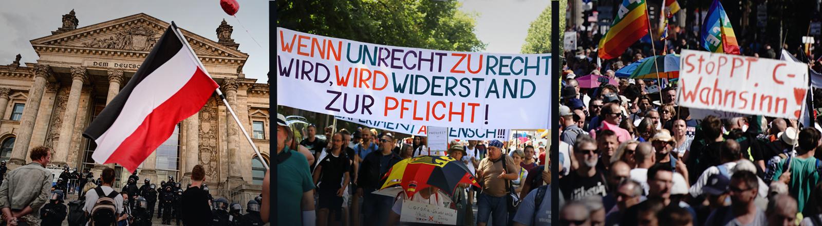Drei Bilder verschiedener Corona-Demonstration in Berlin, teils sind Reichsflaggen zu sehen,