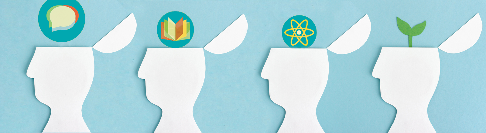 Grafisches Themenbild für Open Science: Wissen in Köpfen