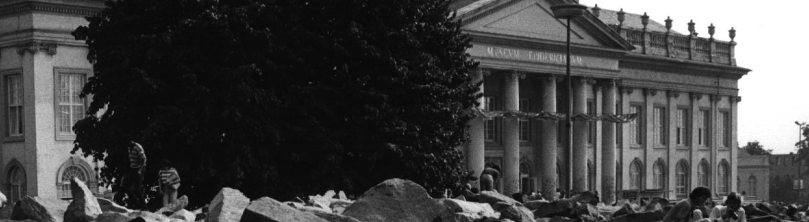 """Attraktion, aber auch """"Stein des Anstoßes"""" waren die 7 000 Steine, die Joseph Beuys 1955 für seine Baumpflanzaktion vor dem Museum Fridericianum in Kassel lagern ließ."""