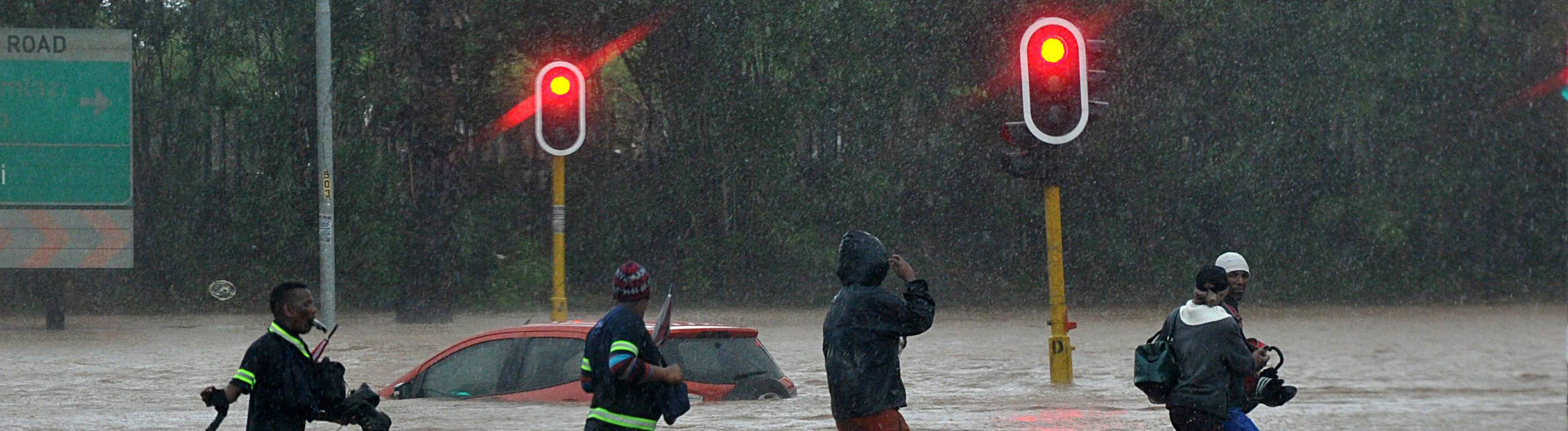KZN hit by flash floods DURBAN, SOUTH AFRICA OCTOBER 10: A car is seen floating on the Durban roads during severe floods on October 10, 2017 in Durban, South Africa. The heavy flash floods in KZN have claimed at least three lives, damaged five state hospitals and have flooded countless homes and buildings.