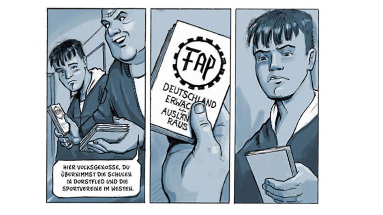 """Ausschnitt aus der Graphic Novel """"Drei Steine"""": Ein Junge zeigt einem anderen ein kleines Buch mit dem Titel """"Deutschland erwacht, Ausländer raus"""""""