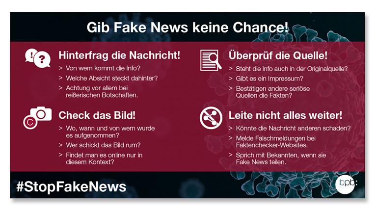 Infotafel der Bundeszentrale für Politische Bildung mit Tipps gegen Fake News
