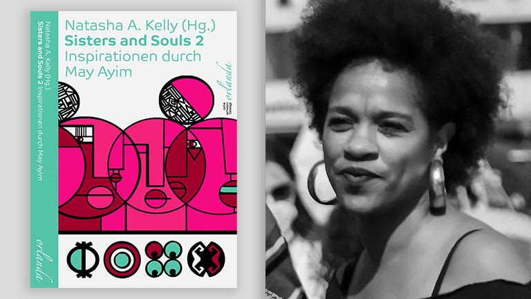 """Links das Cover des Buches """"Sisters and Souls 2"""", rechts das Portrait der Herausgeberin Natasha Kelly"""