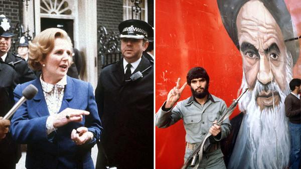 neue Premierministerin Margaret Thatcher am 4. Mai 1979 vor ihrem Amtssitz Downing Street Nr. 10 in London .  Ein Student macht im Jahr 1979 vor einem überdimensionalen Porträt des iranischen Revolutionsführers Ayatollah Ruhollah Khomeini das Siegeszeichen.