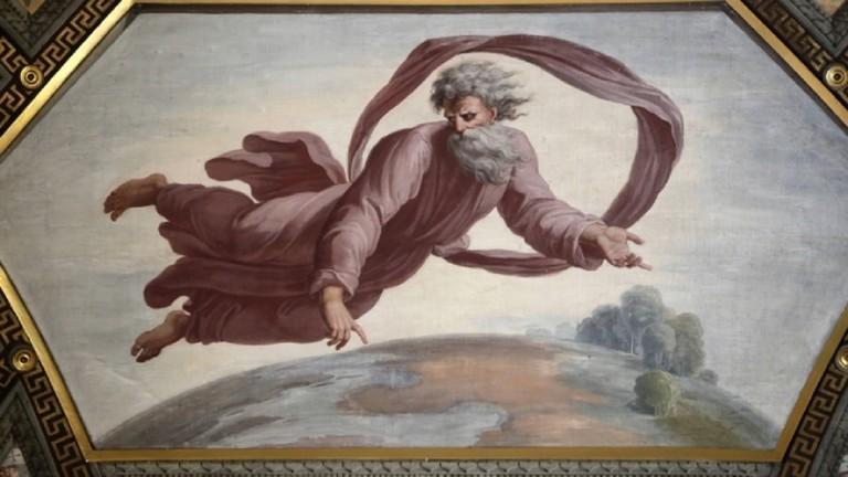 Gott beim Erschaffen von Himmel und Erde, Fresko Raffaels in der Ermitage in St. Petersburg