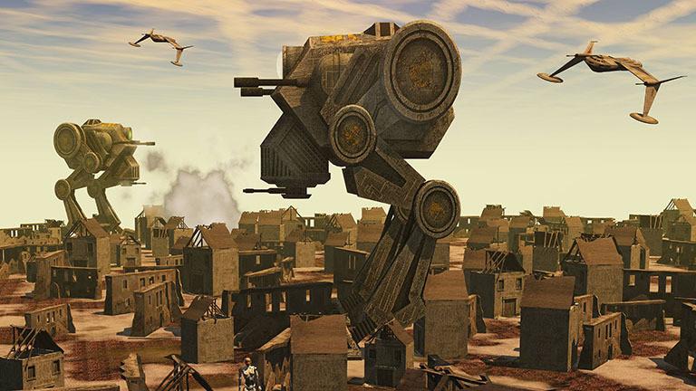 Moderne Kampfroboter führen Krieg.