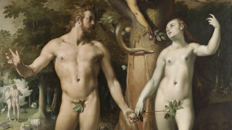 Eine Darstellung von Adam und Eva mit der Schlange am Baum der Erkenntnis.