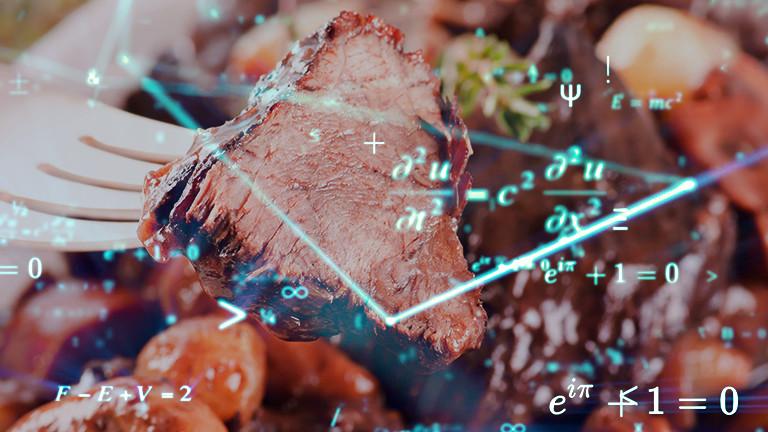Collage: Boeuf Bourguinon mit mathematischen Formeln.