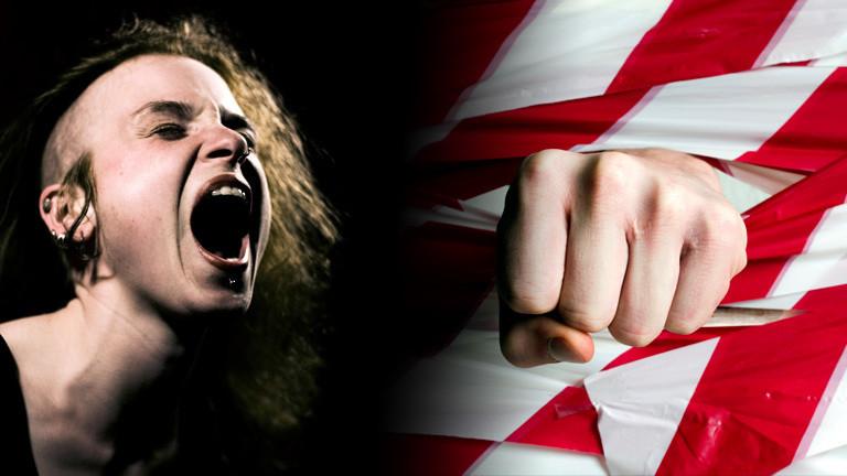 Collage: schreiende Frau, Faust schlägt durch Absperrband