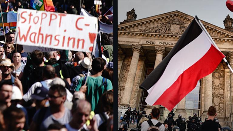 """Zwei Fotos der Proteste gegen die Corona-Maßnahmen in Berlin am 29.08.2020 - links ein Transparent mit der Aufschrift """"Stoppt C-Wahnsinn!"""" in der Menschenmenge, rechts eine wehende Reichsflagge vor dem Reichstagsgebäude."""