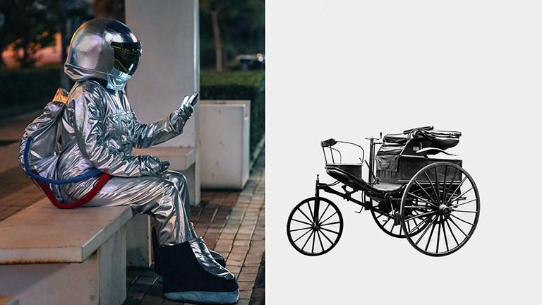 Warten auf die Mobilität der Zukunft und das Benz-Auto von 1888