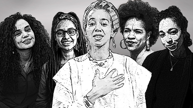 Eine Collage mit Portraits von (von links nach rechts) Mariela Georg, Savannah Sipho, May Ayim, Ayasha Guerin und Natasha Kelly