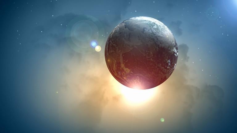 Die Erde im Weltall.
