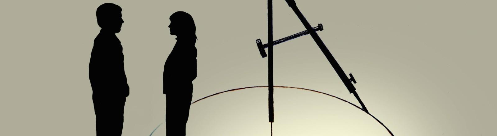 Eine Hand von oben trennt eine Frau und einen Mann durch einen Kreis.