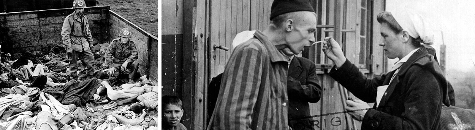 Leichen in einem Waggon, ein entkräfteter Häftling wird gefüttert.
