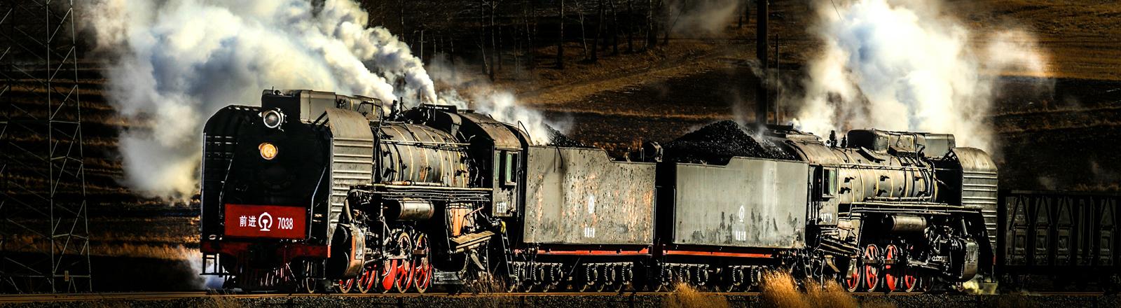 Eine Dampflokomotive