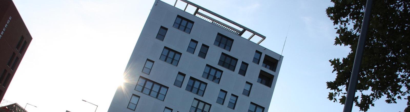 Holzhochhaus vor blauem Himmel