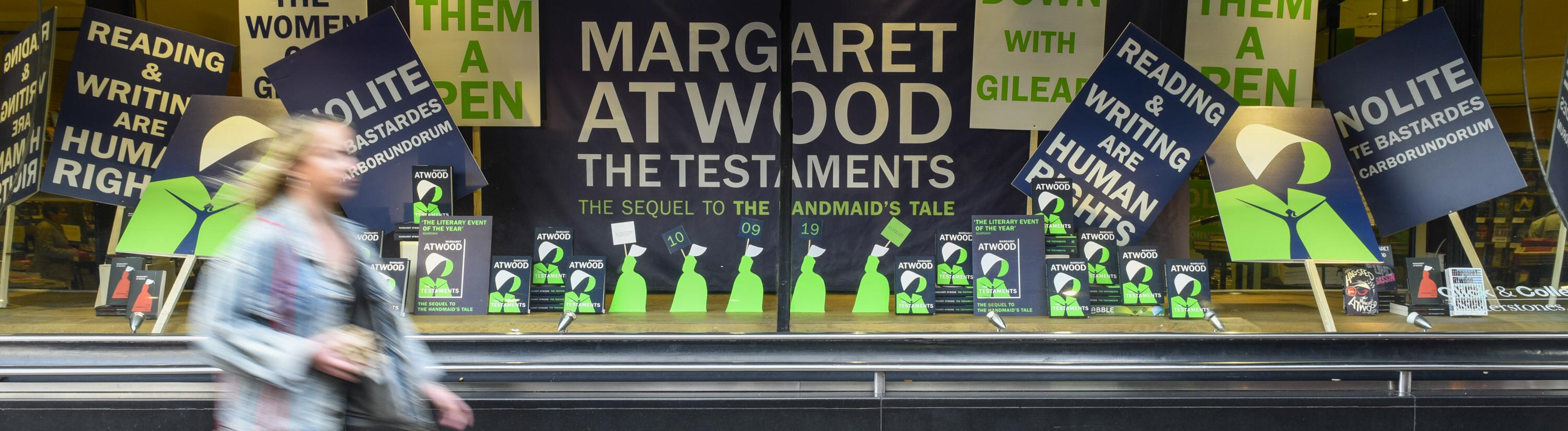 September 10, 2019, London, UK: LONDON, UK. Copies of The Testaments , the new book by author Margaret Atwood, are displayed at bookshop in Piccadilly.