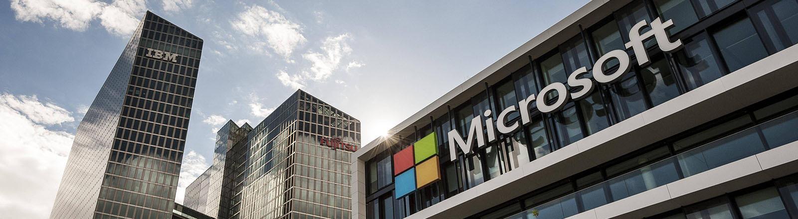 Ein Gebäude von Microsoft in München.