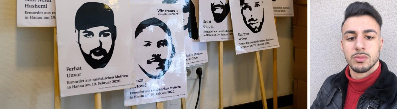Schilder mit Bildern und den Namen der Toten des Anschlags von Hanau und ein Bild von Mirkan Unvar