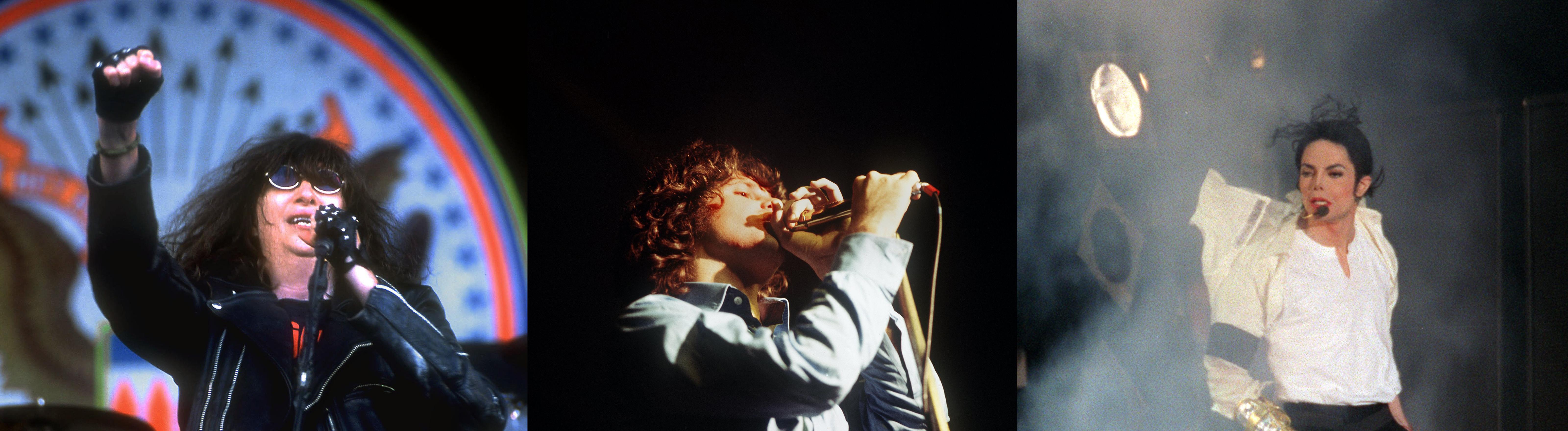 Joey Ramone von den Ramones, Michael Jackson und Jim Morrison von The Doors.