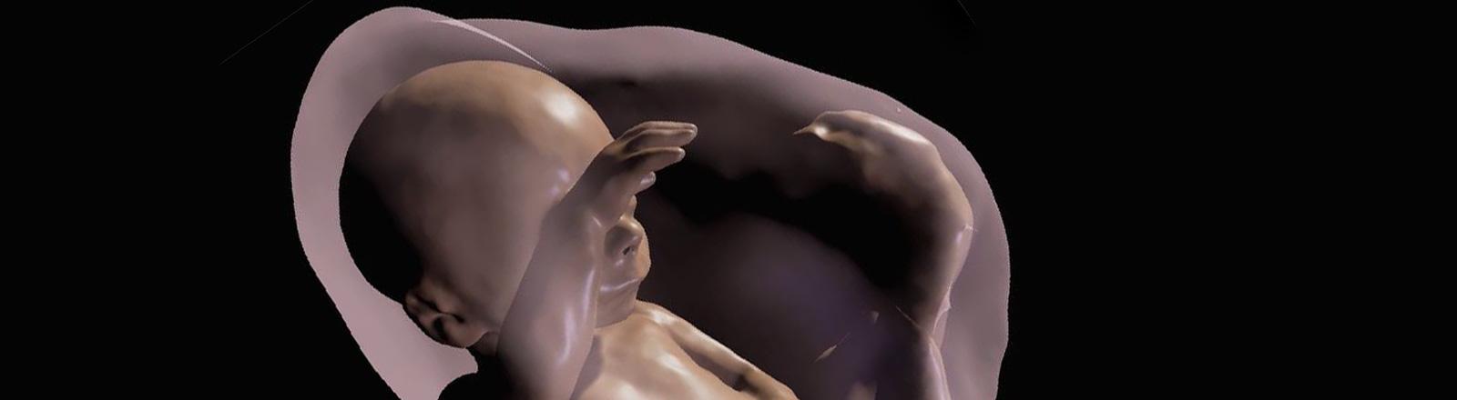 Ein 3D-Bild von einem Kind im Mutterleib.