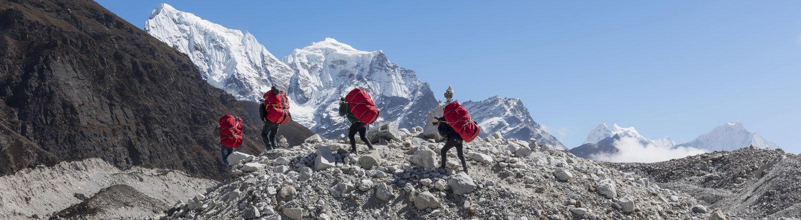 Nepal, Himalaya, Khumbu, Everest region, Porters on Ngozumpa glacier model