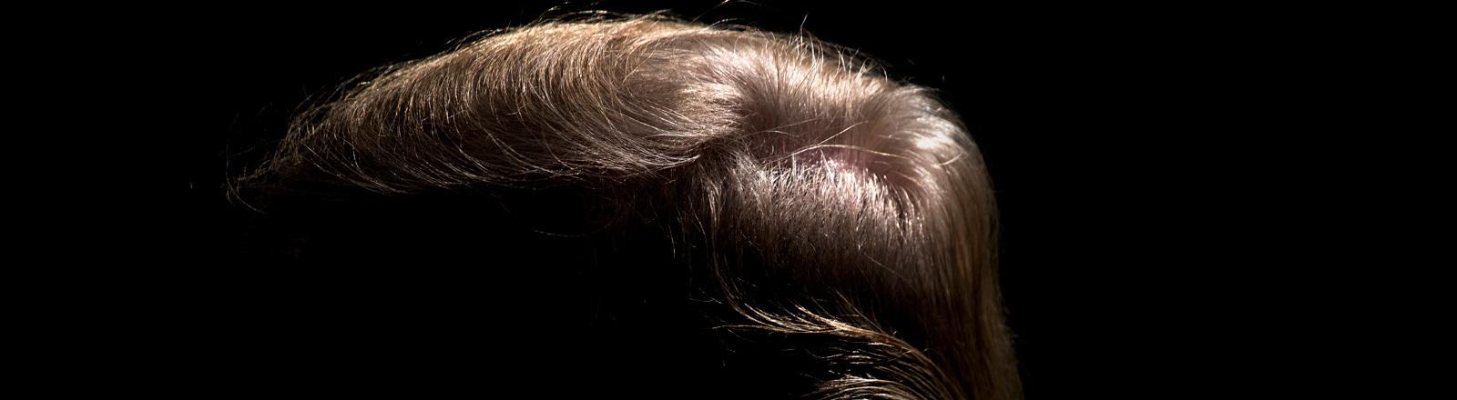 Trumps Haare, sein Gesicht liegt im Dunkeln