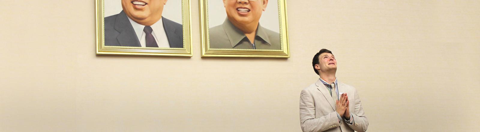Der US-Student Otto Warmbier bei einer Pressekonferenz in Nordkorea im Jahr 2016.