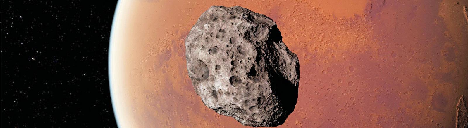 Computeranimation von Asteroid vor einem Planeten