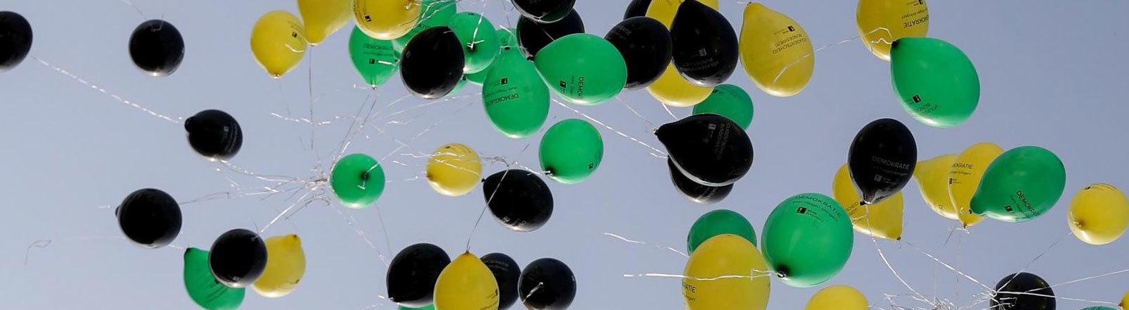 """Ballons in Jamaika-Farben bei einer Demonstration von """"Mehr Demokratie"""""""