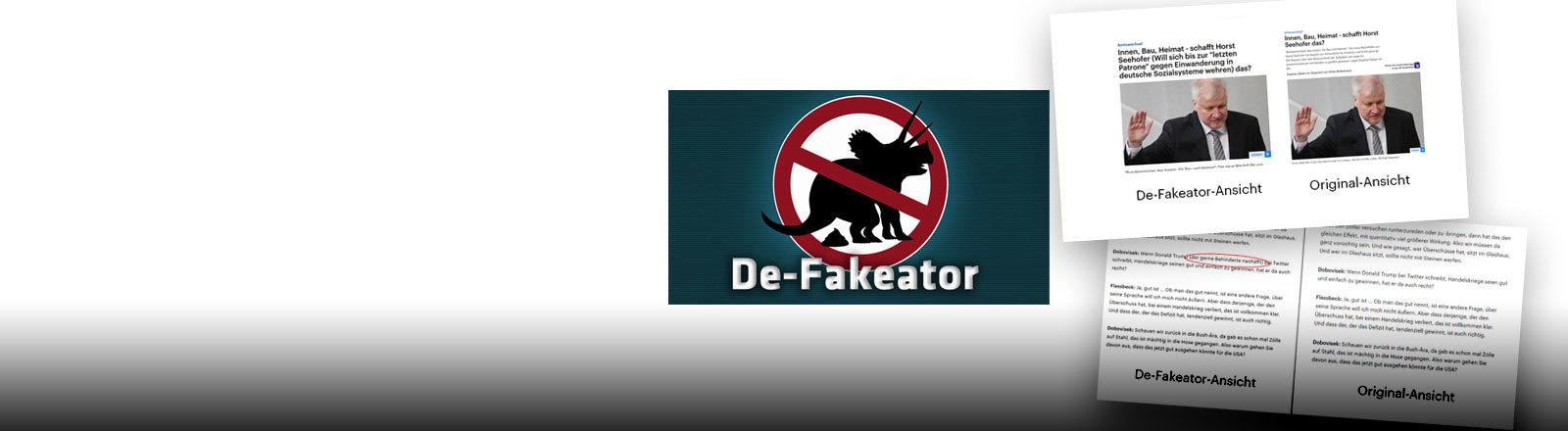 """Das Logo des De-Fakeators und Screenshots der """"Fälschungen"""""""