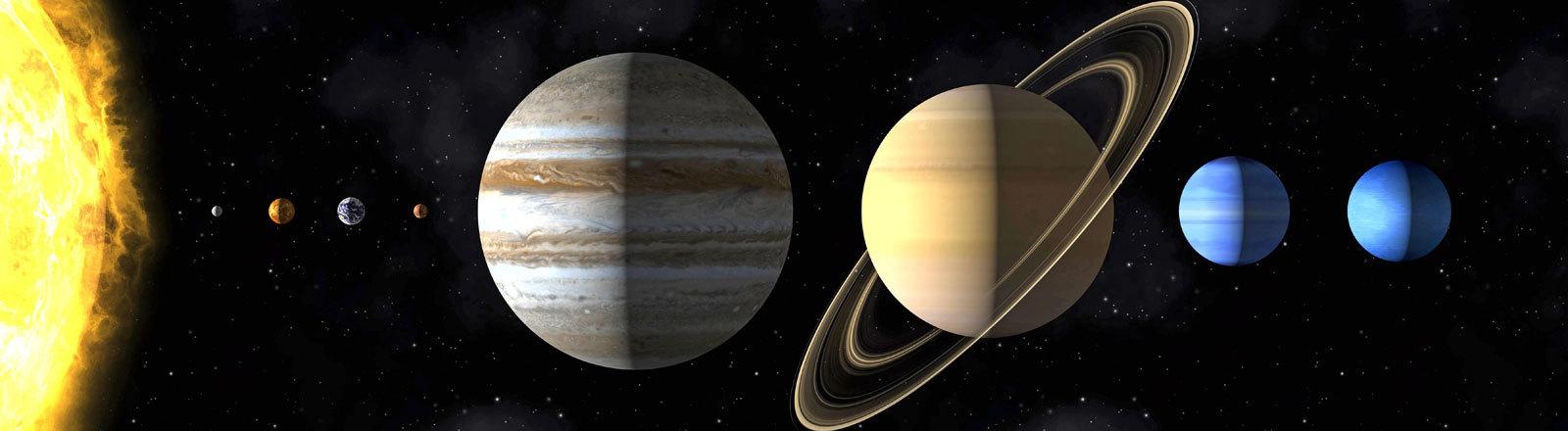 Unser Sonnensystem mit Merkur, Venus, der Erde, Mars, Jupiter, Saturn, Uranus und Neptun.