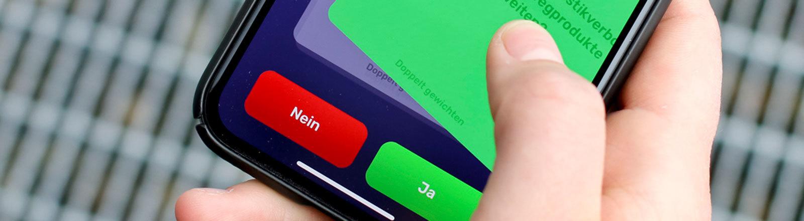 Vote-Swiper-App; Bild darf nur in Verbindung mit Nachricht verwendet werden