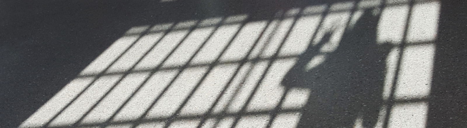 Eine Frau steht in einem Gefängnis am Gitter und wirft ihren Schatten auf den Boden.