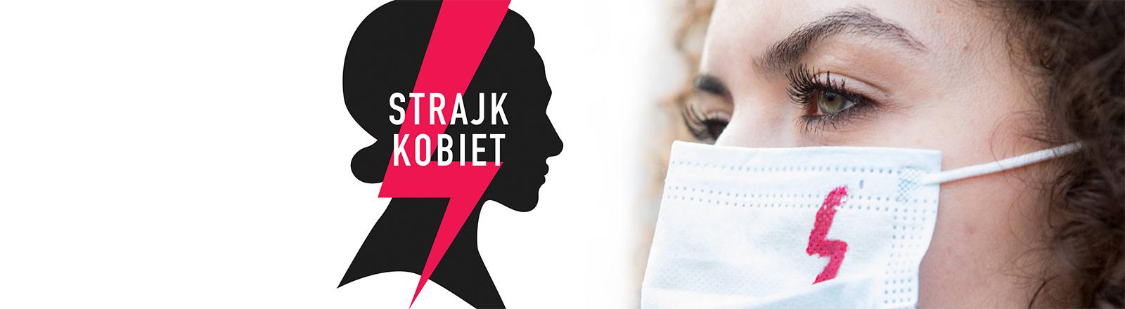 Logo des Frauenstreiks gegen das Abtreibungsverbot in Polen, eine Demonstrantin in Warschau am 29.10.2020