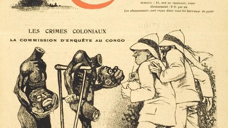 """Diese Karikatur ist im Jahr 1907 im belgischen Satiremagazin """"Les Corbeaux"""" erschienen. Sie prangert mit beißendem Spott die angebliche Aufklärung von Kolonialverbrechen im Kongo durch eine belgische Untersuchungskommission an."""