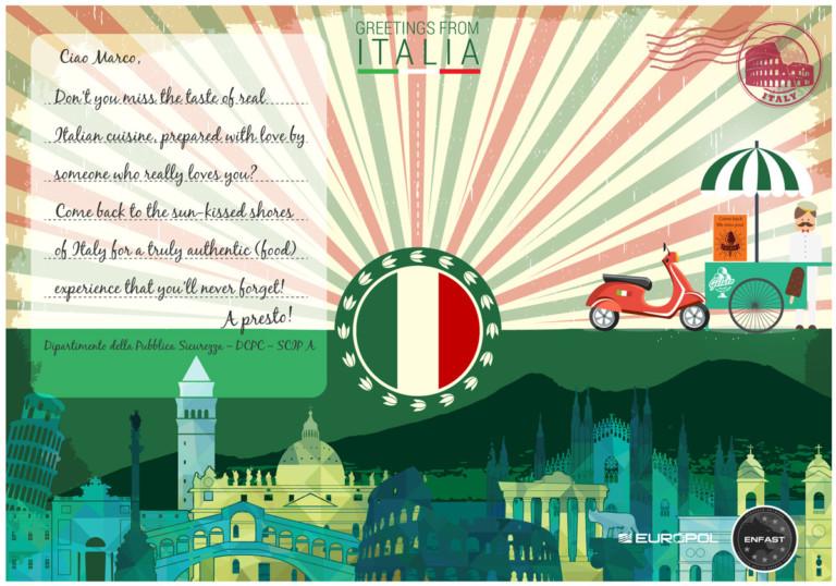 Europol-Postkarte aus Italien
