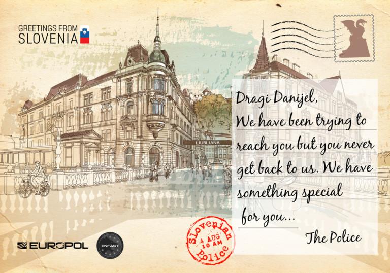 Europol-Postkarte aus Slowenien