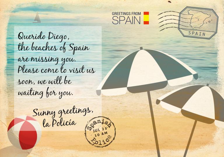 Europol-Postkarte aus Spanien